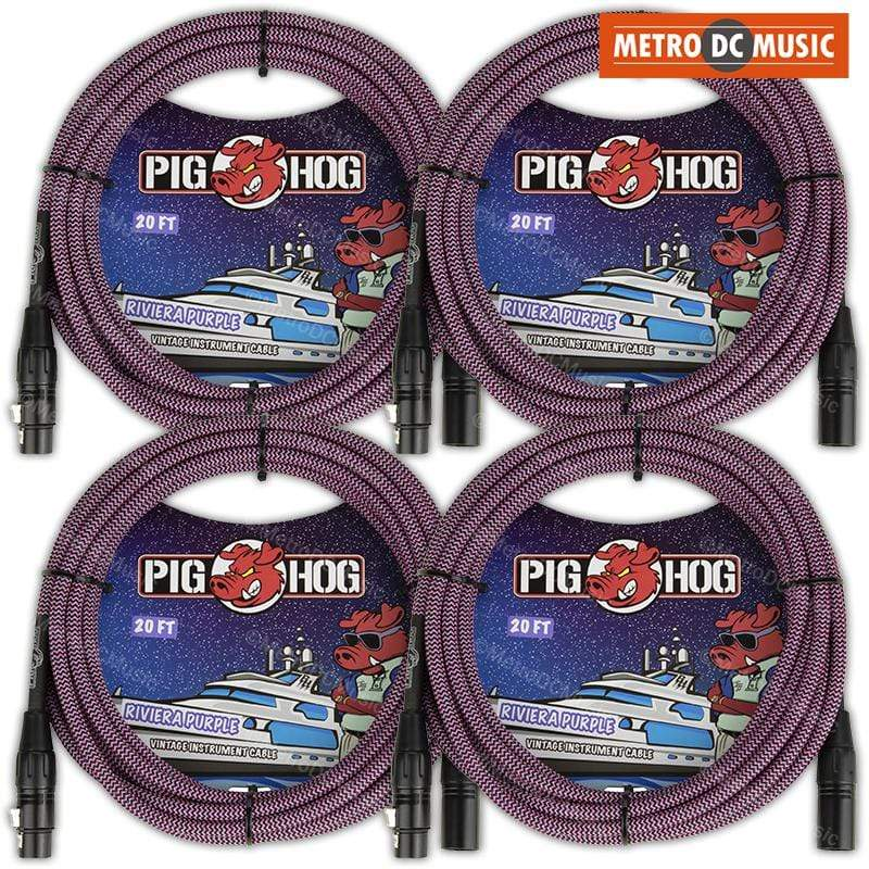 PIG HOG MICROPHONE CABLES 4-Pack Pig Hog 20ft Riviera Purple Woven Tweed XLR Microphone Mic Cable Cord