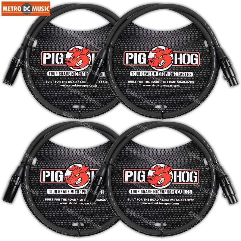 PIG HOG MICROPHONE CABLES 4-Pack Pig Hog 3ft Microphone Cable XLR Lifetime 8mm Tour Grade PHM3 Black