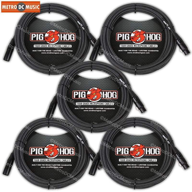 PIG HOG MICROPHONE CABLES 5-Pack Pig Hog Black & White Woven XLR Microphone Mic Cable Cord 10ft XLR