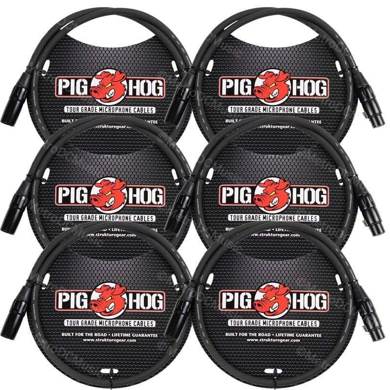 PIG HOG MICROPHONE CABLES 6-Pack Pig Hog 3' Foot Ft Microphone Cable XLR Lifetime 8mm Tour Grade PHM3