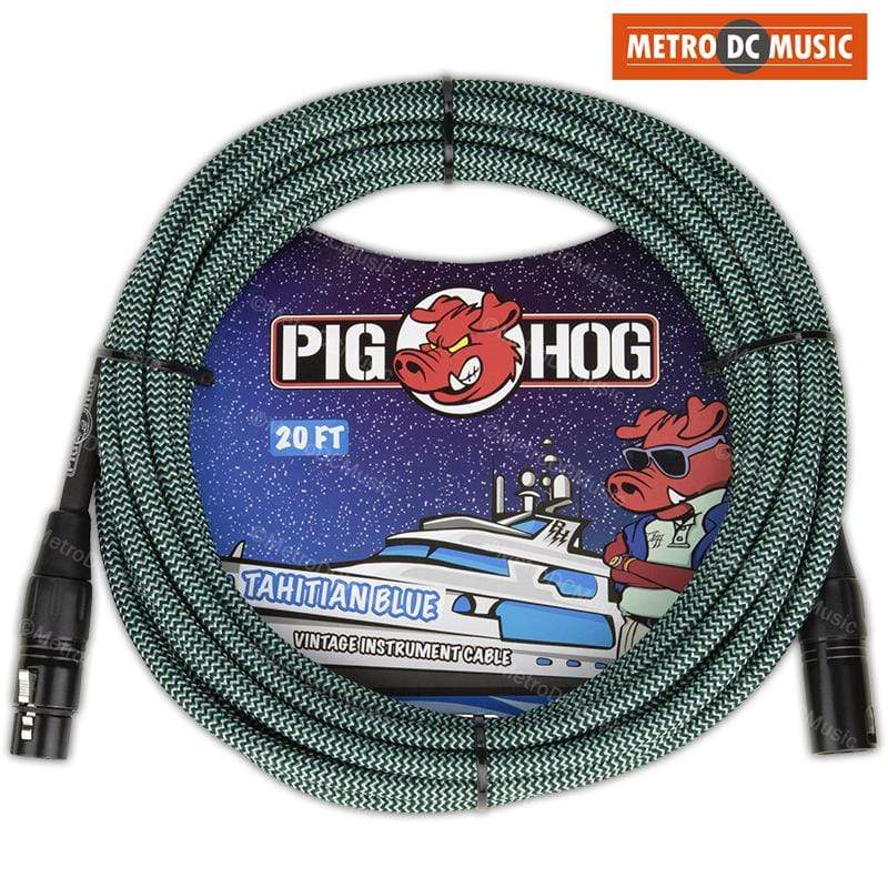 PIG HOG MICROPHONE CABLES Pig Hog 20ft Tahitian Blue Woven Tweed XLR Male Female Microphone Mic Cable Cord