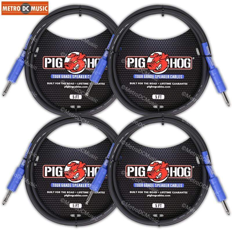 "PIG HOG PASSIVE SPEAKER CABLE 4-PACK Pig Hog 5ft 1/4"" Speaker Cable 8mm Amp Head Cord PHSC5 14 Gauge Wire"