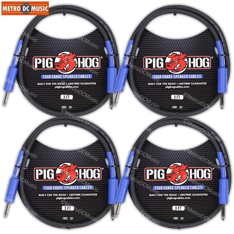"PIG HOG PASSIVE SPEAKER CABLE 4-Pack Pig Hog 9.2mm Speaker Cable Cord 3ft 14 AWG 1/4"" to 1/4"" NEW"