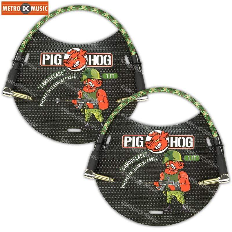 "PIG HOG PATCH CABLES 2-Pack Pig Hog 1/4"" Camouflage Tweed Guitar 1ft Right-Angled Patch Cables 1/4"""