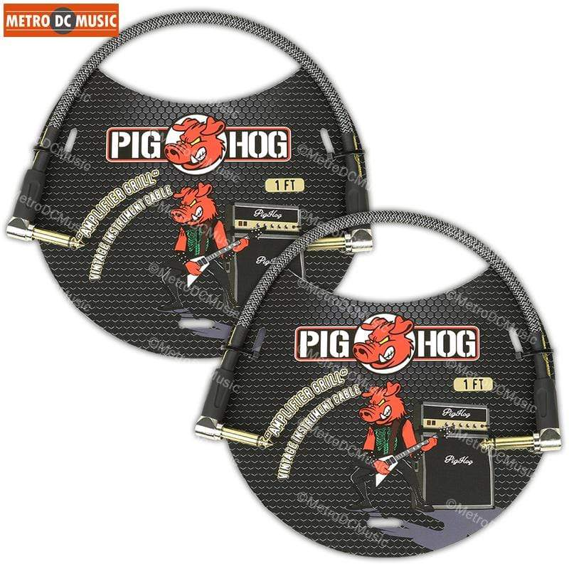 "PIG HOG PATCH CABLES 2-Pack Pig Hog Amp-Grill Tweed 1ft Right-Angled Patch Cables 1/4"" NEW"