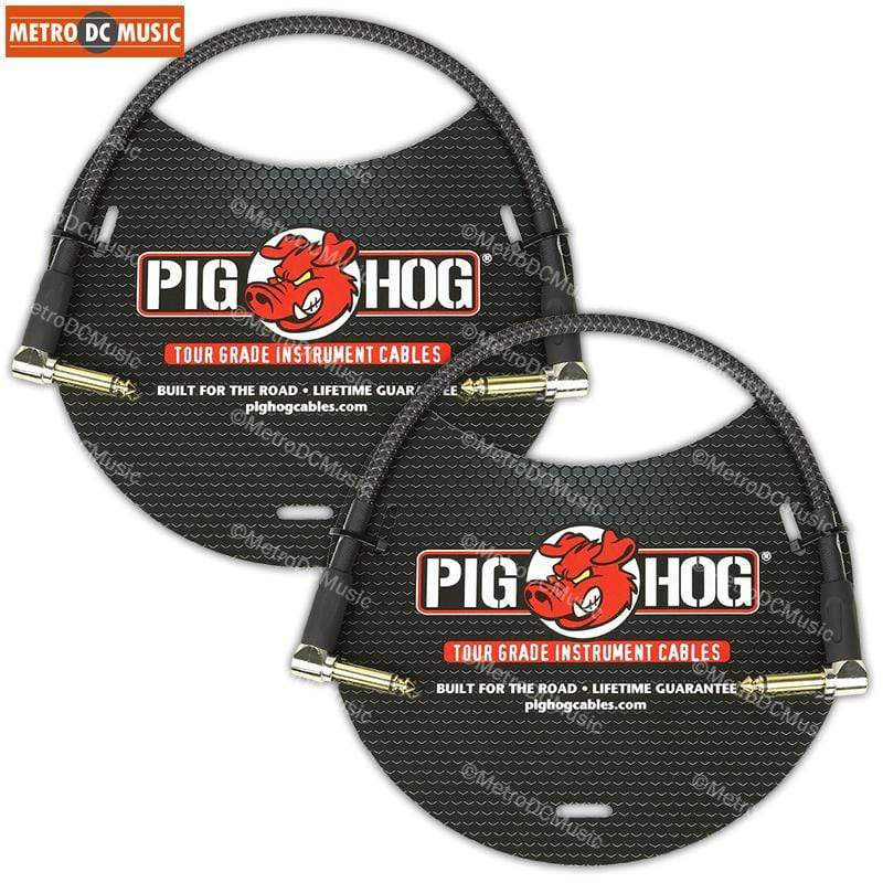 "PIG HOG PATCH CABLES 2-Pack Pig Hog Black Woven 1ft Right-Angled Patch Cables 1/4"" NEW"