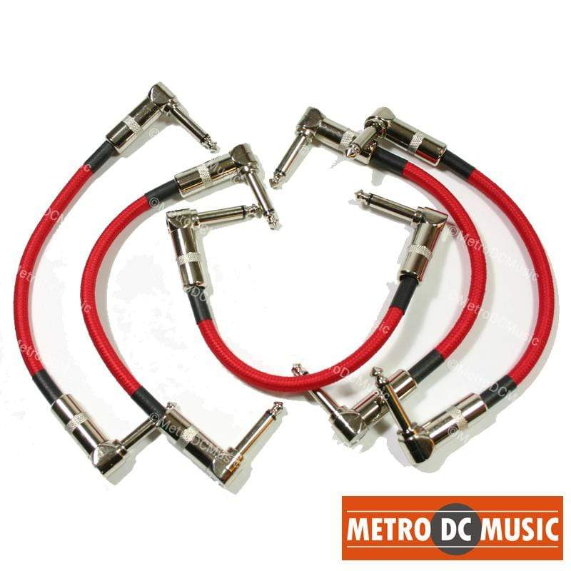 "PIG HOG PATCH CABLES 5 Pack 6"" 1/4 Right-Angle Instrument GUITAR Cable CORD Effect Patch RED TWEED"