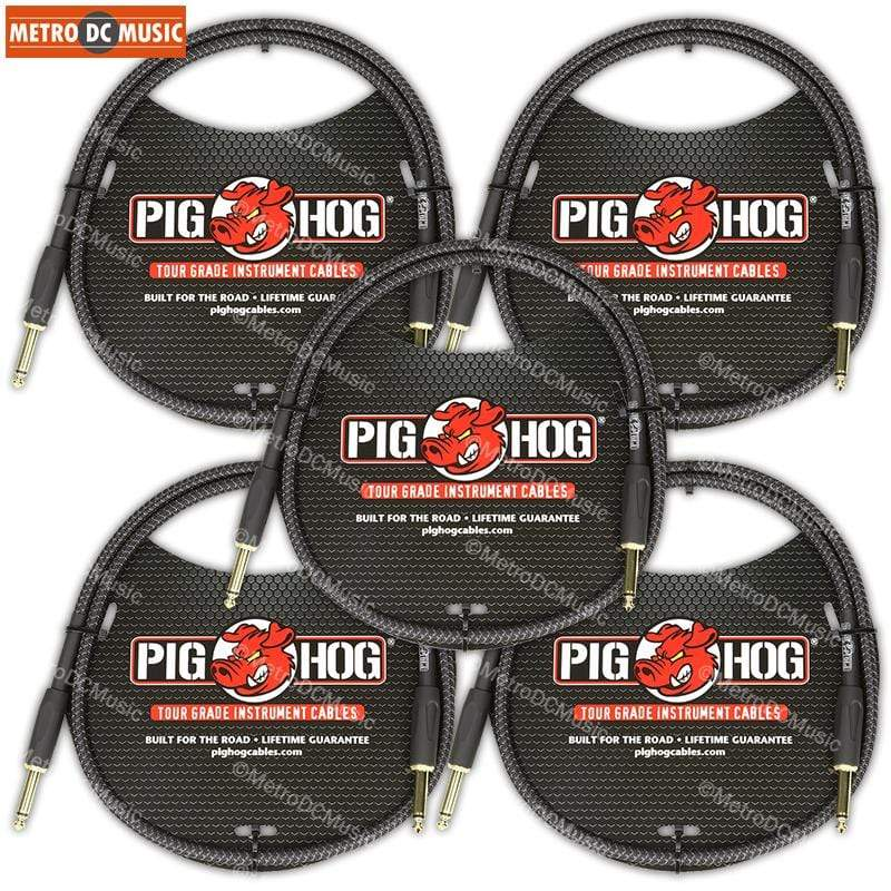 "PIG HOG PATCH CABLES 5-Pack Pig Hog Black Woven 3ft Patch Cables 1/4"" NEW"