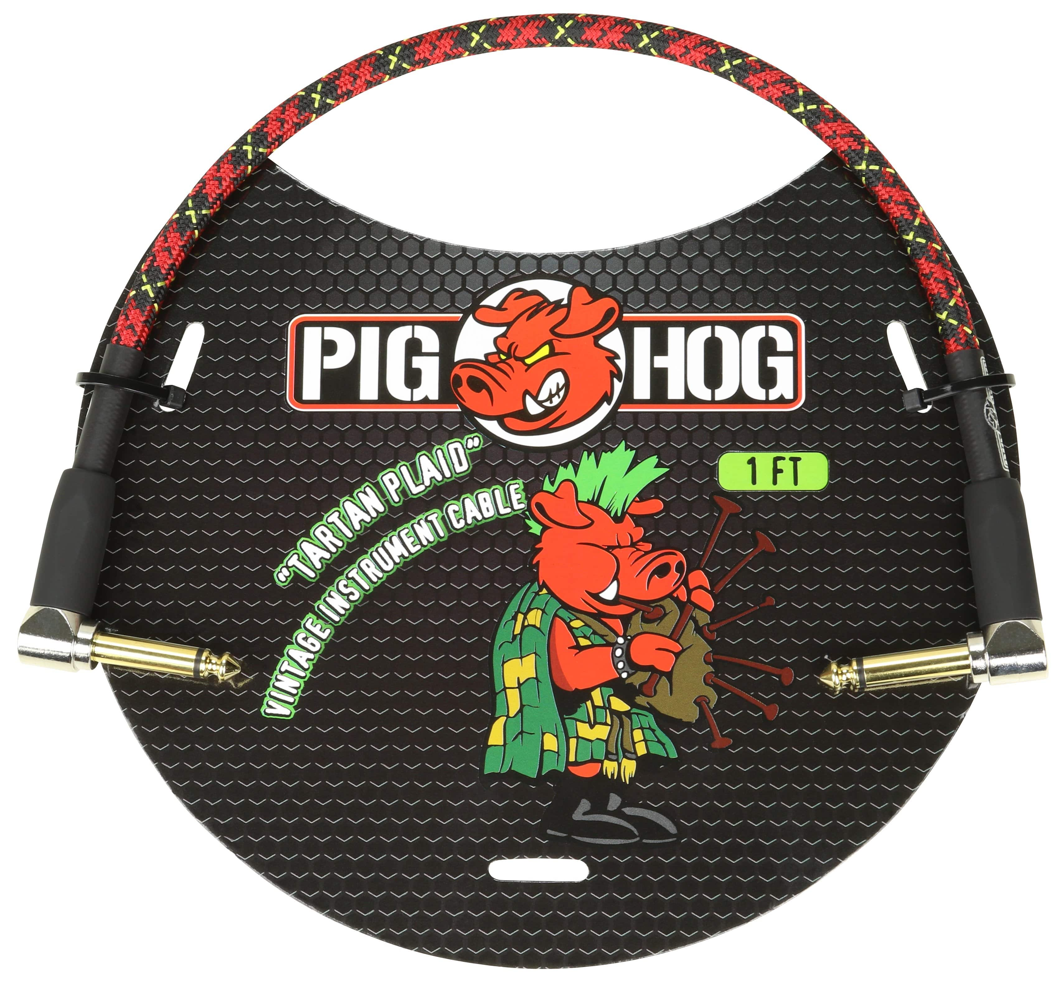 "PIG HOG PATCH CABLES Pig Hog 1/4"" Tartan Plaid Tweed Guitar 1ft Right-Angled Patch Cables 1/4"" NEW"
