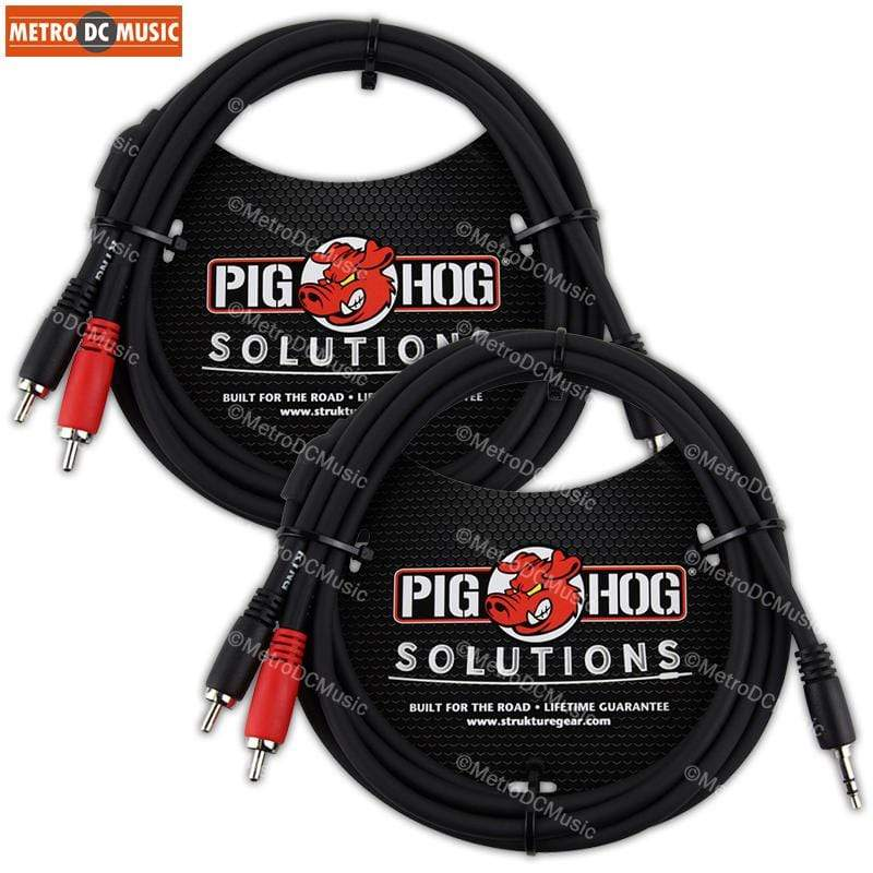 PIG HOG TRS INSERT CABLES 2-Pack Pig Hog 6ft 3.5mm Male to Dual RCA Male Stereo Breakout Cable TRS 1/8""