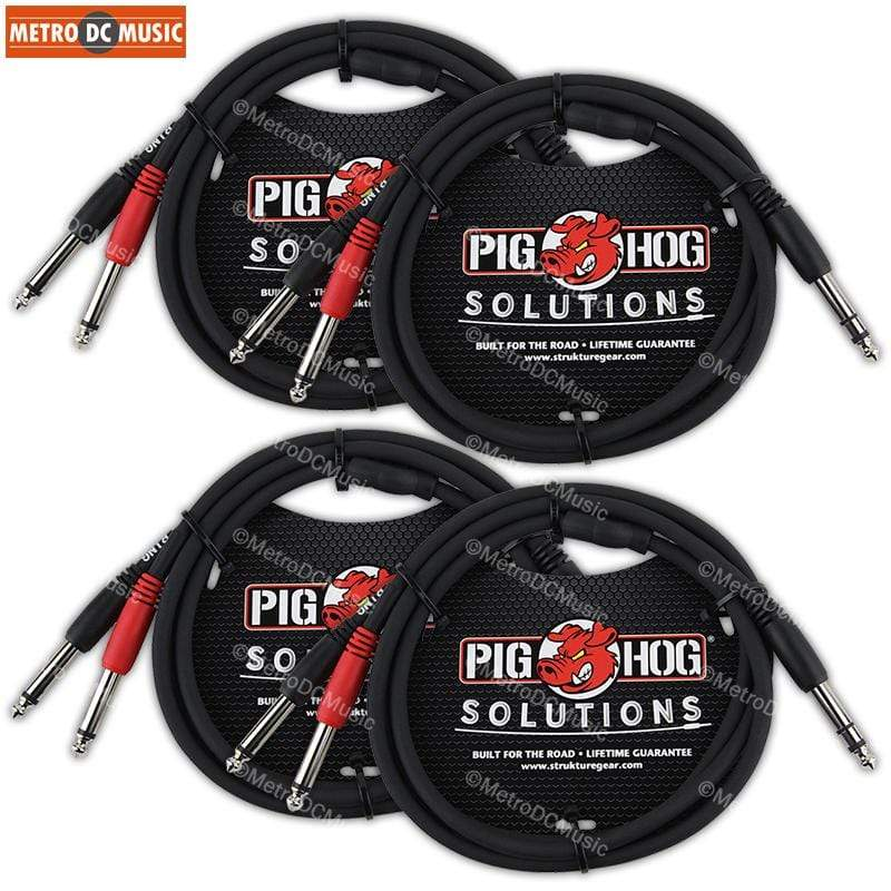 "PIG HOG TRS INSERT CABLES 4-Pack Pig Hog 3 ft 1/4"" TRS Stereo Male to Dual 1/4"" Mono Male Insert Cable"