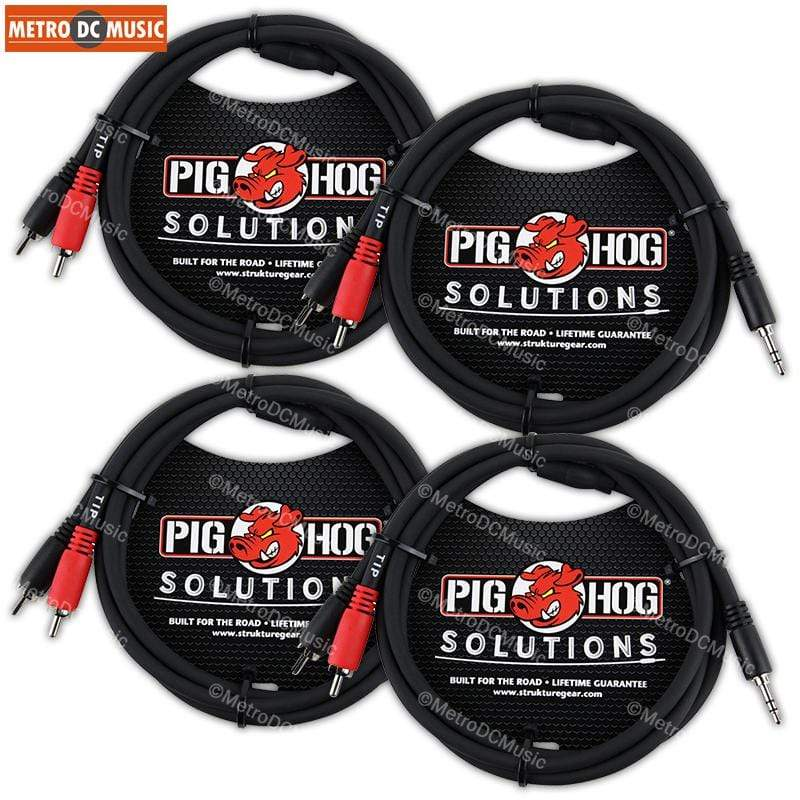 PIG HOG TRS INSERT CABLES 4-Pack Pig Hog 3ft 3.5mm Male to Dual RCA Male Stereo Breakout Cable TRS 1/8