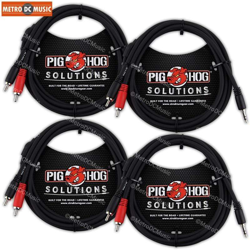 PIG HOG TRS INSERT CABLES 4-Pack Pig Hog 6ft 3.5mm Male to Dual RCA Male Stereo Breakout Cable TRS 1/8""