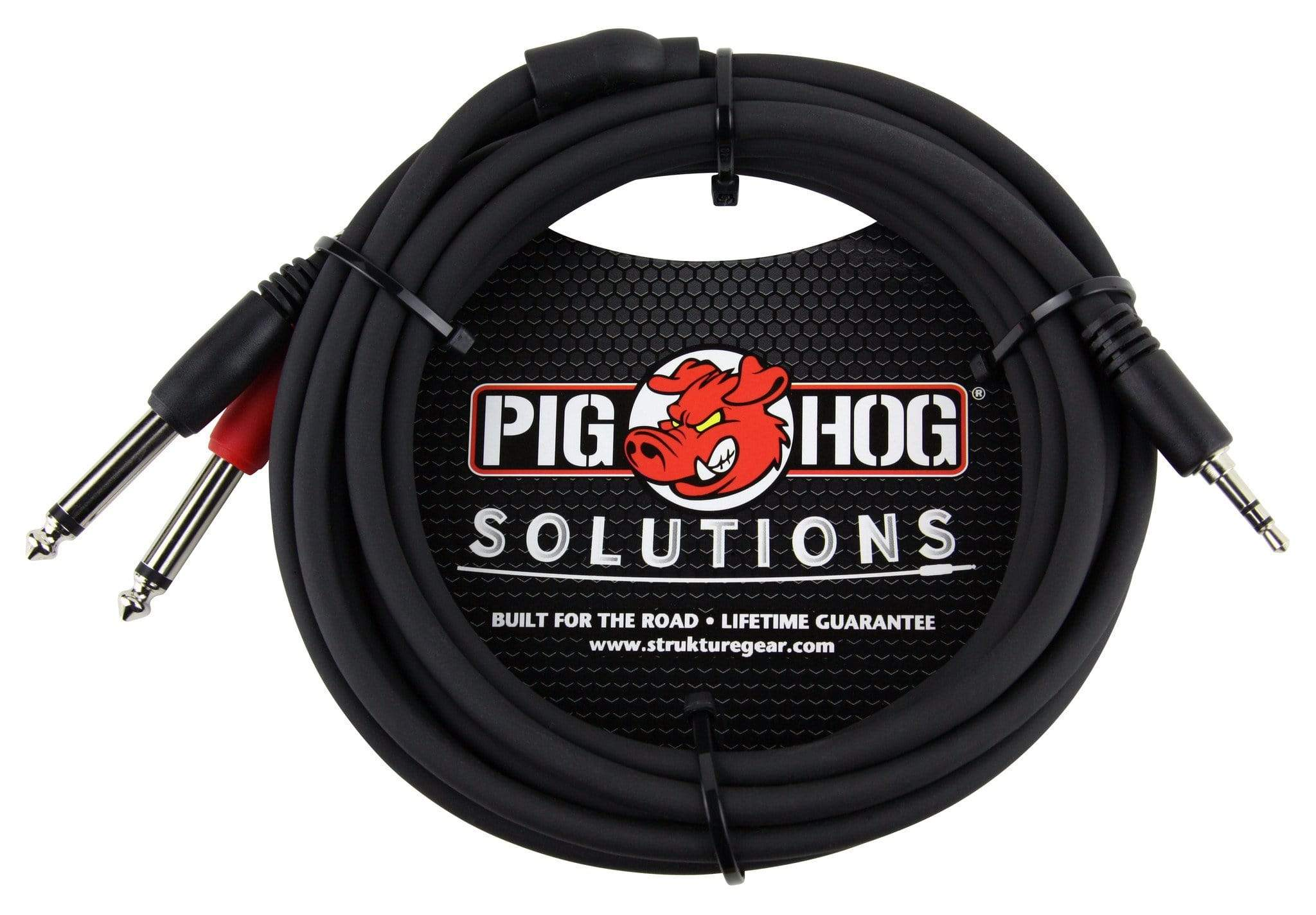 "PIG HOG TRS INSERT CABLES Pig Hog 10ft 3.5mm Male to Dual 1/4"" Male Stereo Breakout Cable TRS Mini 1/8"""