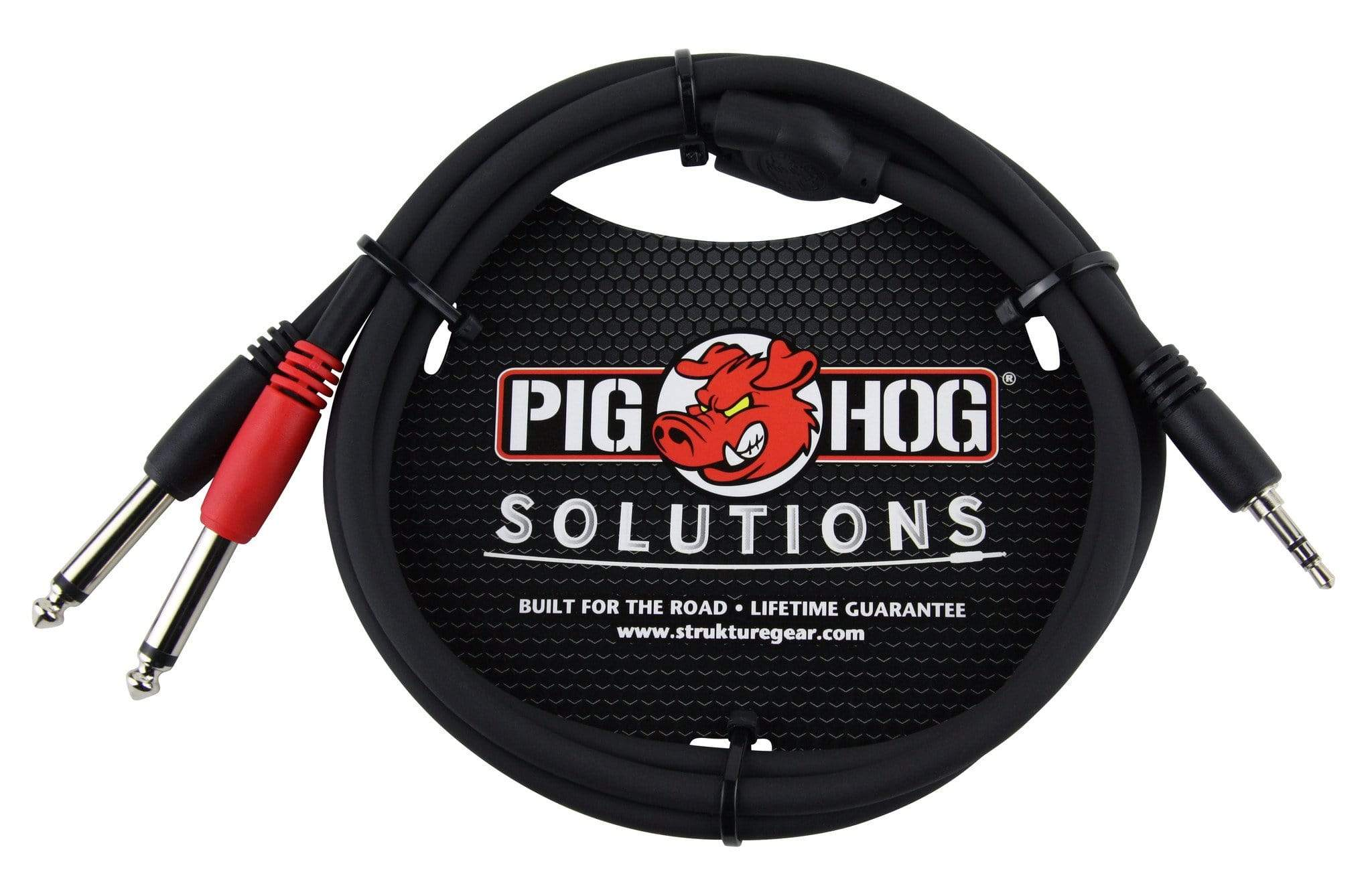 "PIG HOG TRS INSERT CABLES Pig Hog 3ft 3.5mm Male to Dual 1/4"" Male Stereo Breakout Cable TRS Mini 1/8"""