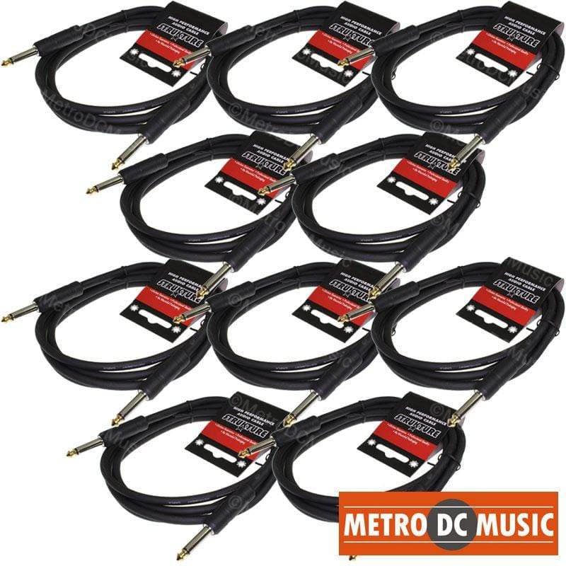 STRUKTURE GUITAR INSTRUMENT CABLES 10-PACK 6' FOOT 1/4 MONO GUITAR INSTRUMENT CABLE CORD STRUKTURE ABS LIFETIME