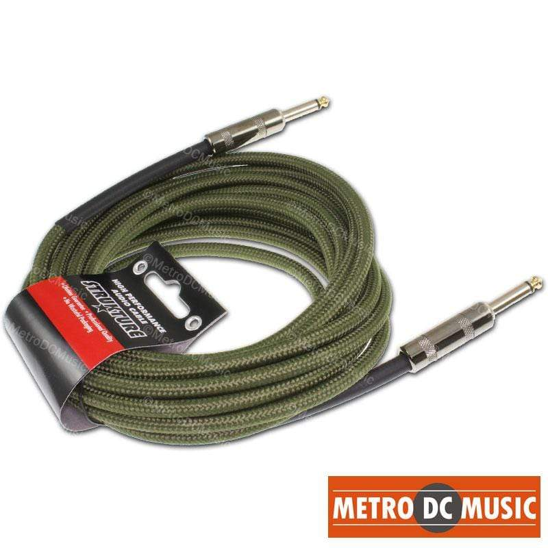STRUKTURE GUITAR INSTRUMENT CABLES 18.5 FT MILITARY GREEN Woven Instrument GUITAR Cable CORD Patch Gold Tip 1/4""