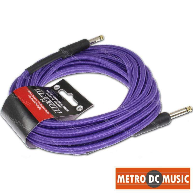 STRUKTURE GUITAR INSTRUMENT CABLES 18.5 FT PURPLE Woven Instrument GUITAR Cable CORD Patch Effect Gold Tip 1/4""