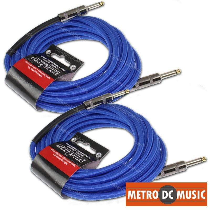 "STRUKTURE GUITAR INSTRUMENT CABLES 2-Pack 18.5 ft Woven Blue 1/4"" Guitar Instrument Cable Gold Tip Lifetime Cord"