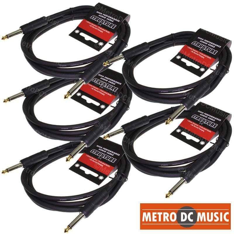STRUKTURE GUITAR INSTRUMENT CABLES 5-PACK 6' FOOT 1/4 MONO GUITAR INSTRUMENT CABLE CORD STRUKTURE ABS LIFETIME