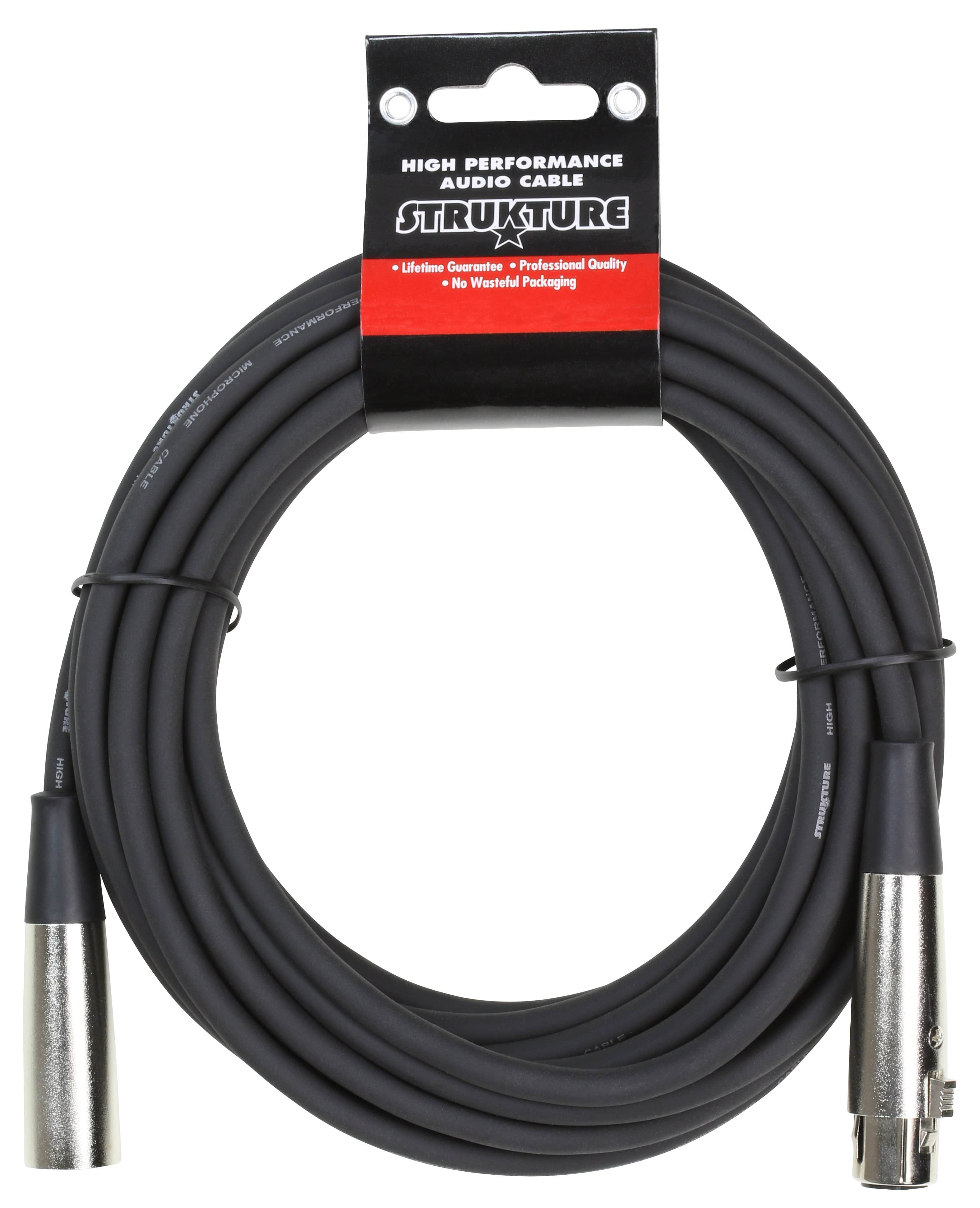 STRUKTURE MICROPHONE CABLES 20' Foot Heavy Duty 7mm Microphone Cable XLR Ft Pro Quality Lifetime Warranty
