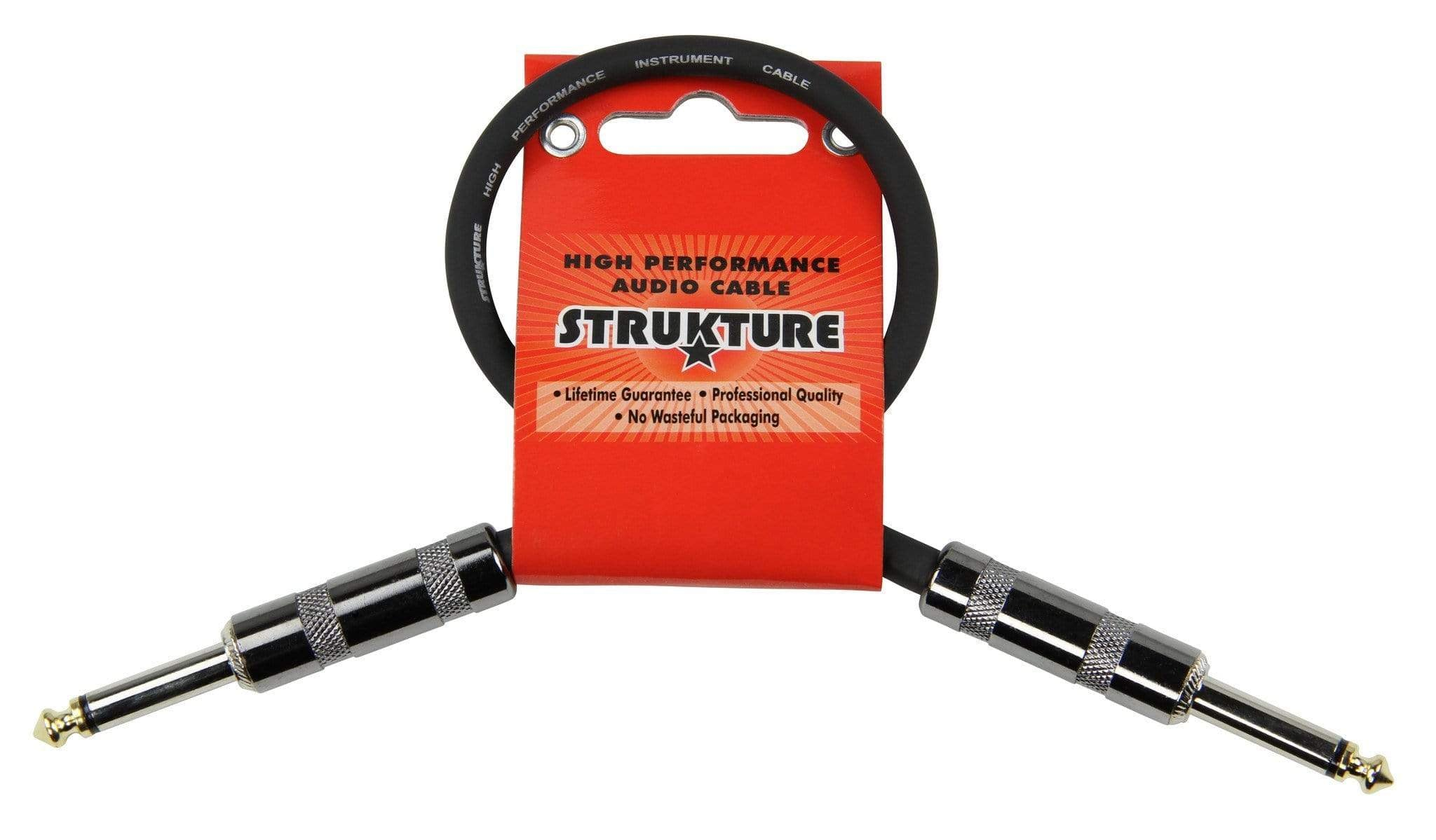 "STRUKTURE PATCH CABLES 12"" Straight Patch Cord 1/4 Guitar Effect Pedalboard Cable 1 ft Gold-Tip NEW"