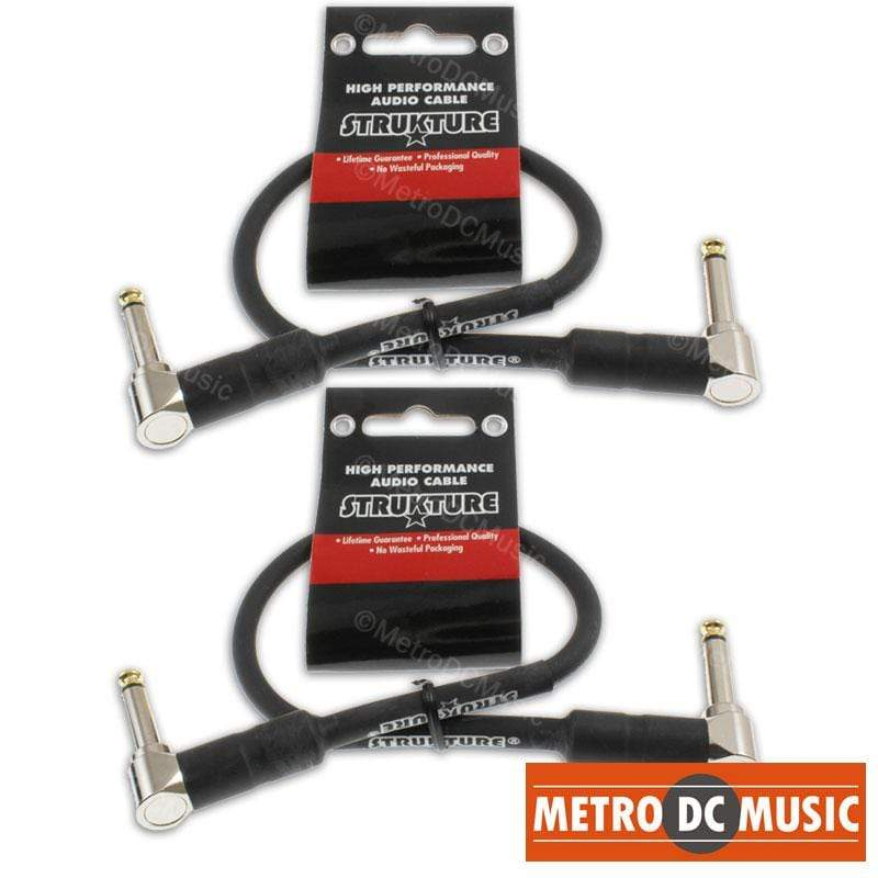 "STRUKTURE PATCH CABLES 2-Pack 12"" 1ft 1/4 Right-Angle Guitar Pedal Patch Cable Cord Black PVC Gold Tip"