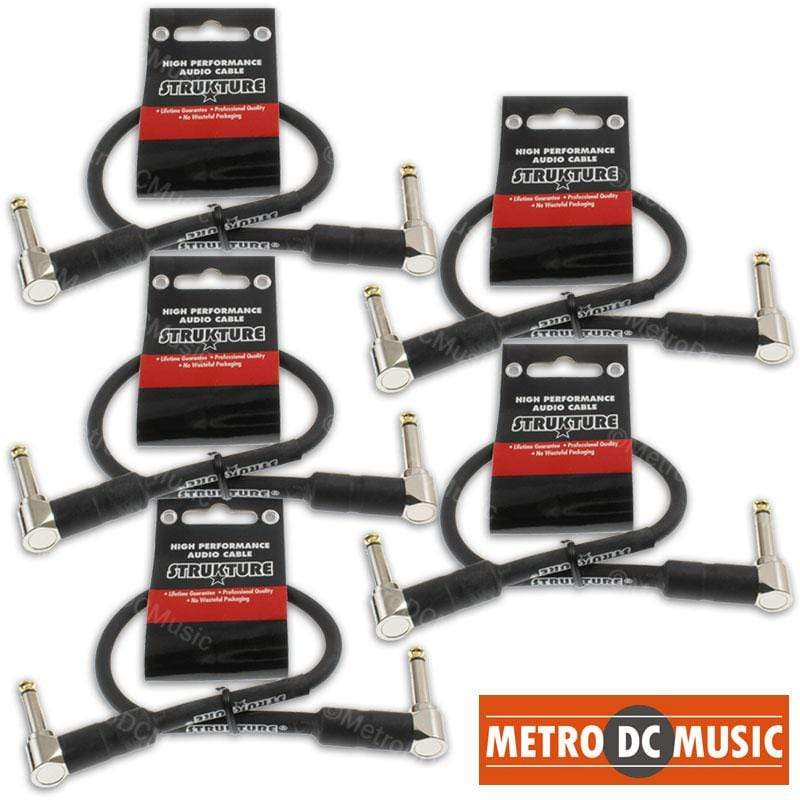 "STRUKTURE PATCH CABLES 5-Pack 12"" 1ft 1/4 Right-Angle Guitar Pedal Patch Cable Cord Black PVC Gold Tip"