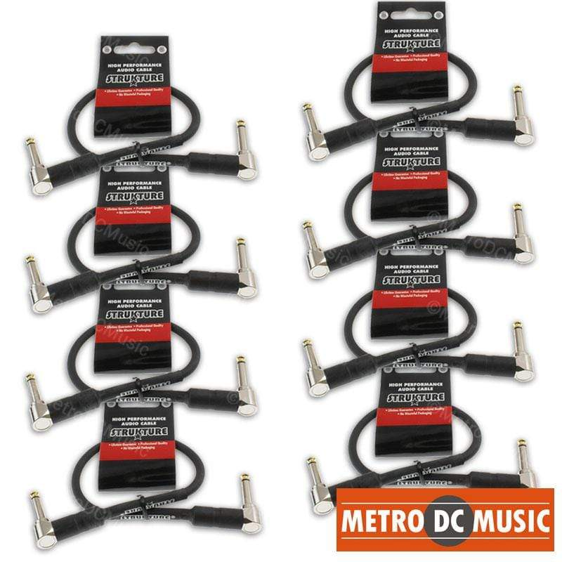 "STRUKTURE PATCH CABLES 8-Pack 12"" 1ft 1/4 Right-Angle Guitar Pedal Patch Cable Cord Black PVC Gold Tip"