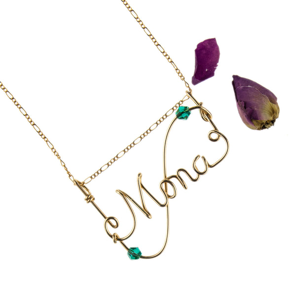 Sienna 14k Gold Filled with S-Curve Design & Stone Handmade Personalized Wire Jewelry Necklace,WJPD01001GSC