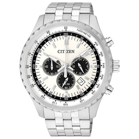 Citizen AN8060-57A Chronograph Mens Watch White Stainless Steel White Dial