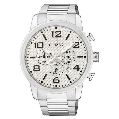 Citizen AN8051-58A Chronograph Stainless Steel Analog Mens Watch Black Dial