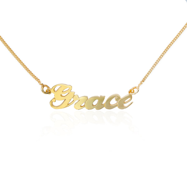 Sienna Small 925 Sterling Silver 18K Gold Plated Customized Handwriting Jewelry English Necklace,CMNCK001GE