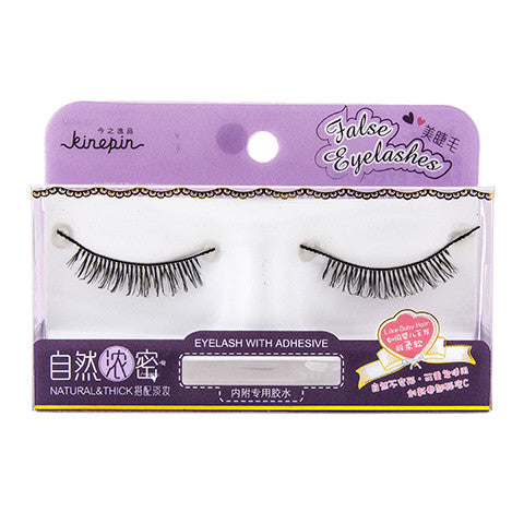 Kinepin Single Pair Natural & Thick with a Light Top False eyelashes with Adhesive Applicator, J0705