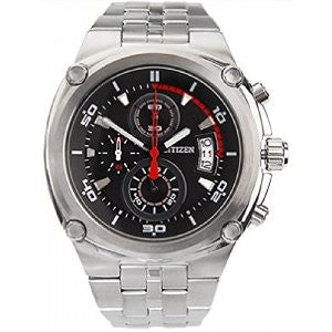 Citizen AN3450-50E Chronograph Stainless Steel Analog Mens Watch Black Dial