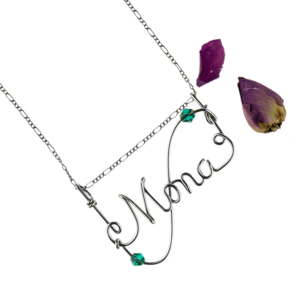Sienna 925 Sterling Silver with S-Curve Design & Stone Handmade Personalised Wire Jewelry Necklace,WJPD01001SSC