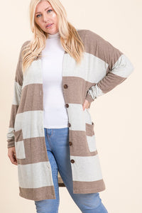 PLUS Stripes+Button Cardigan