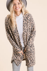 PLUS Leopard+Open Front Cardigan