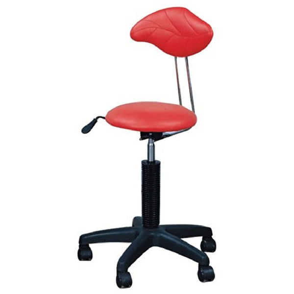 Red Salon Stool With Back Rest