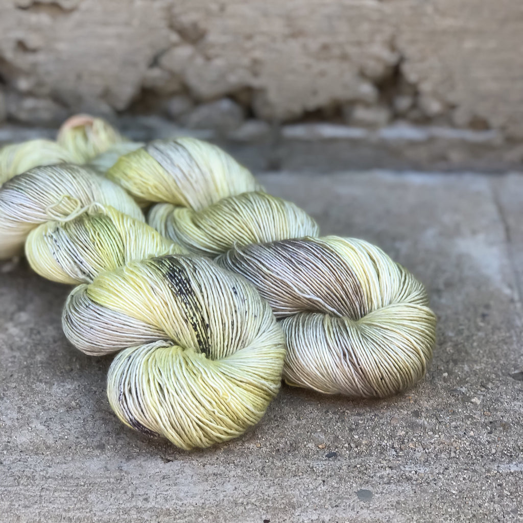 Yellow Fluorite on Divine Silky Merino Singles
