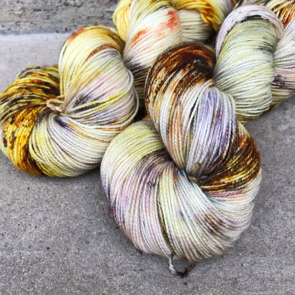 Citrine Quartz on Swizzle Twist BFL Sock