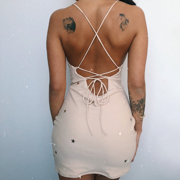 (Premade) Rose Gold Star Cowl Neck Slip Dress - Multiple Sizes