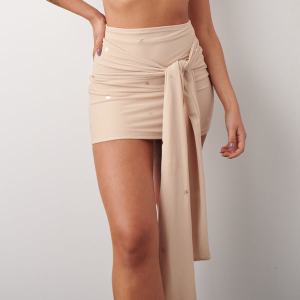 (Premade) Rose Gold Star Drape Belt Mini Skirt - Multiple Sizes