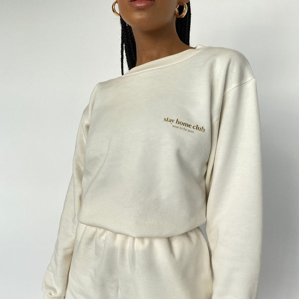 Stay Home Club Oversized Sweater - Cream