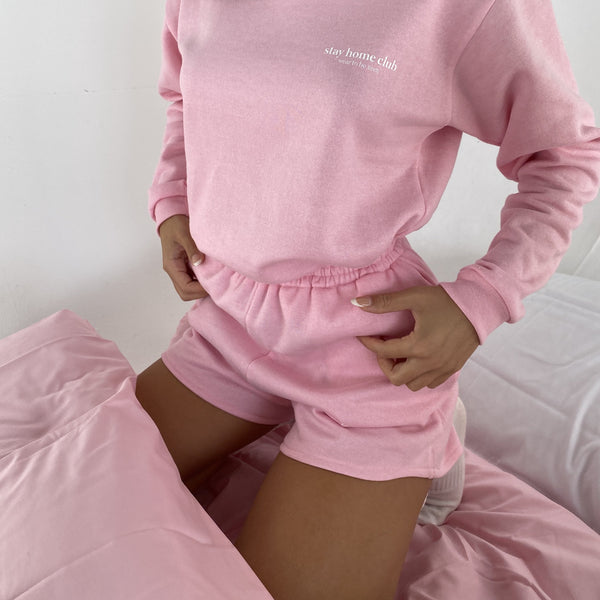Stay Home Club Oversized Boyfriend Shorts - Baby Pink