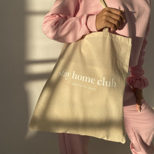 Stay Home Club Canvas Tote Bag (Various Colours)