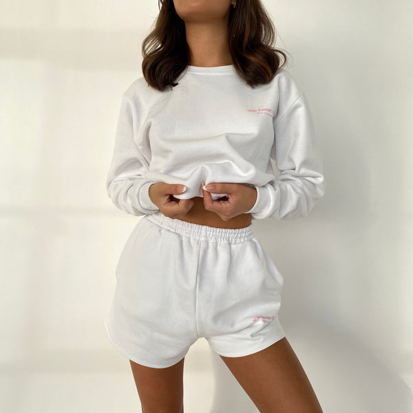 Stay Home Club Oversized Boyfriend Shorts - White