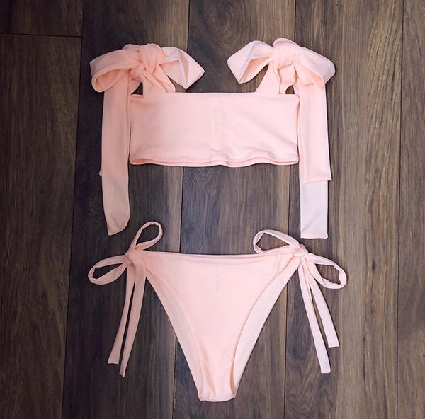 (Premade) Pale Peach Extra Thick Shoulder Tie Bikini Set - Multiple Sizes