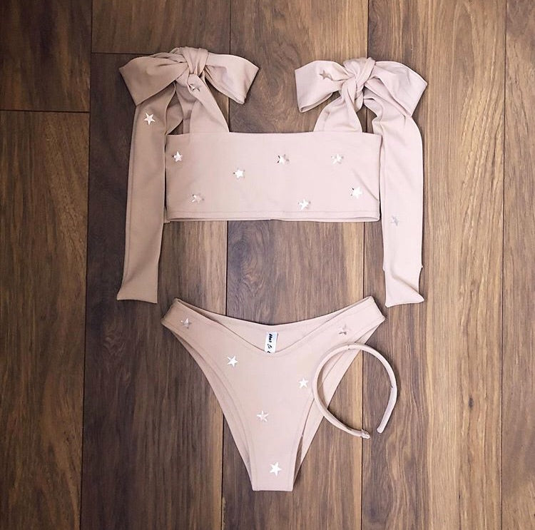 (Premade) Rose Gold Star Extra Thick Shoulder Tie Bikini Set  - Multiple Sizes