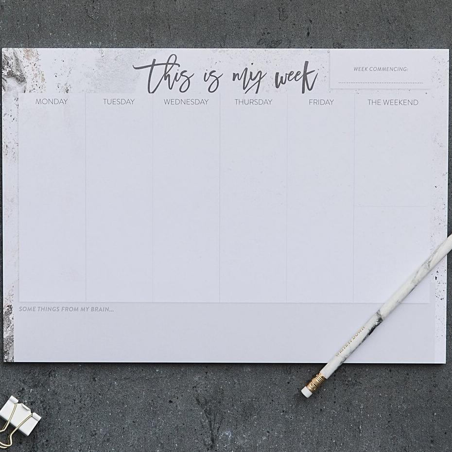 'This Is My Week' Weekly Planner Desk Pad For Home or Office A4